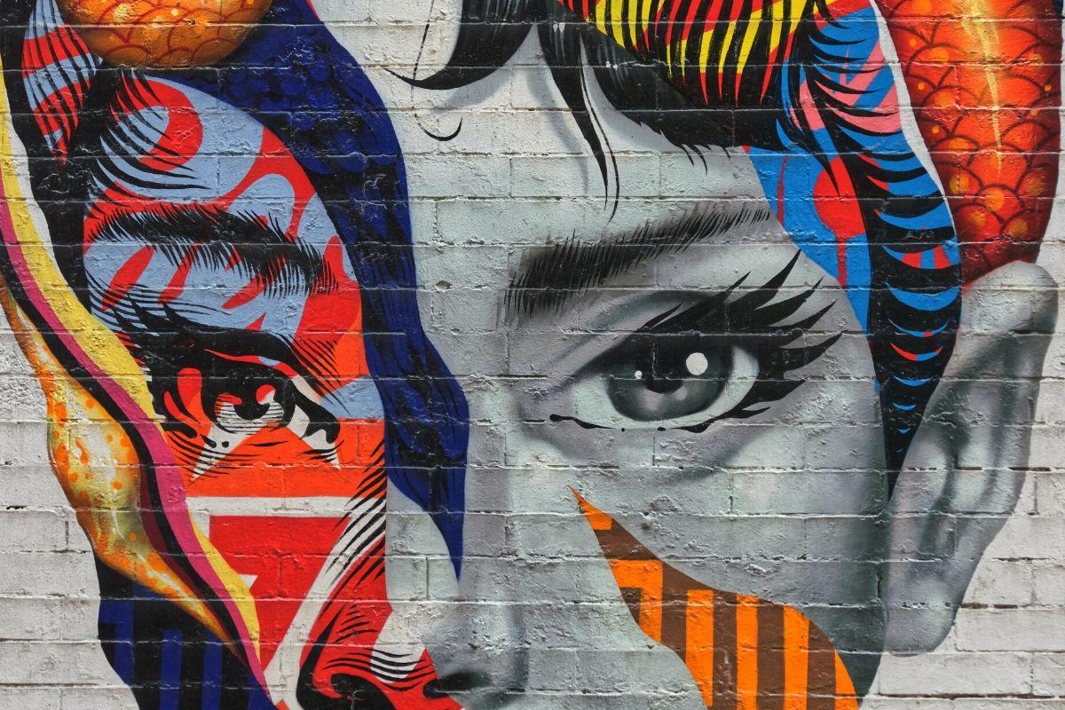 Graffiti art of a face