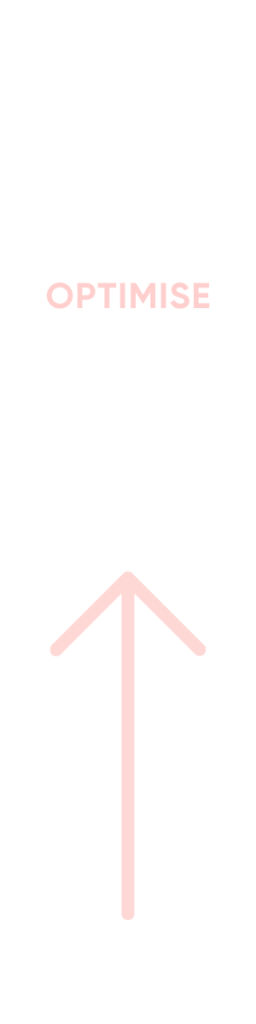 Arrow pointing up to represent optimisation