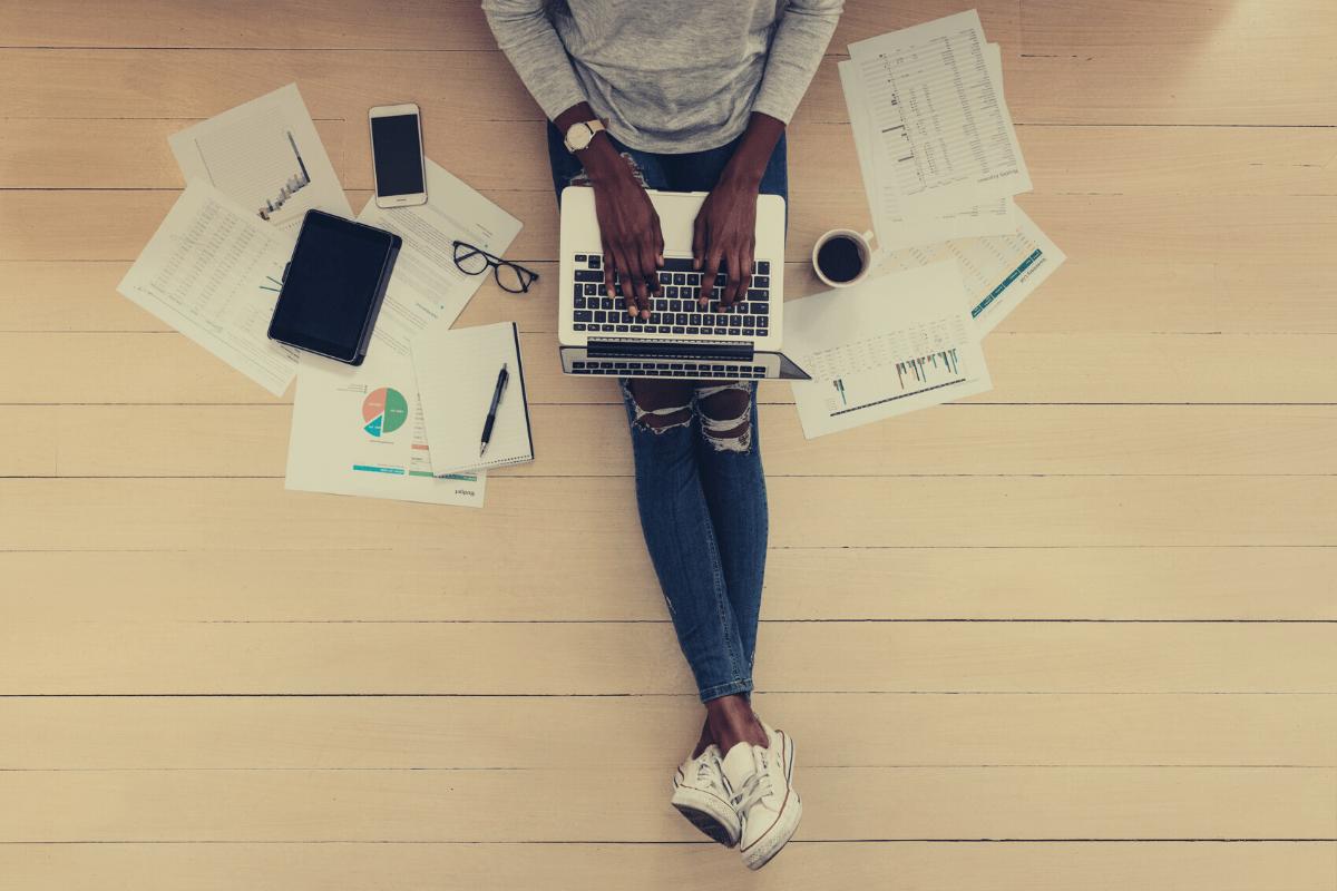 Woman homeworking on laptop