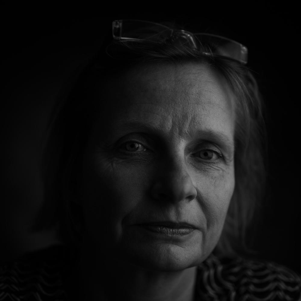 woman looking into camera