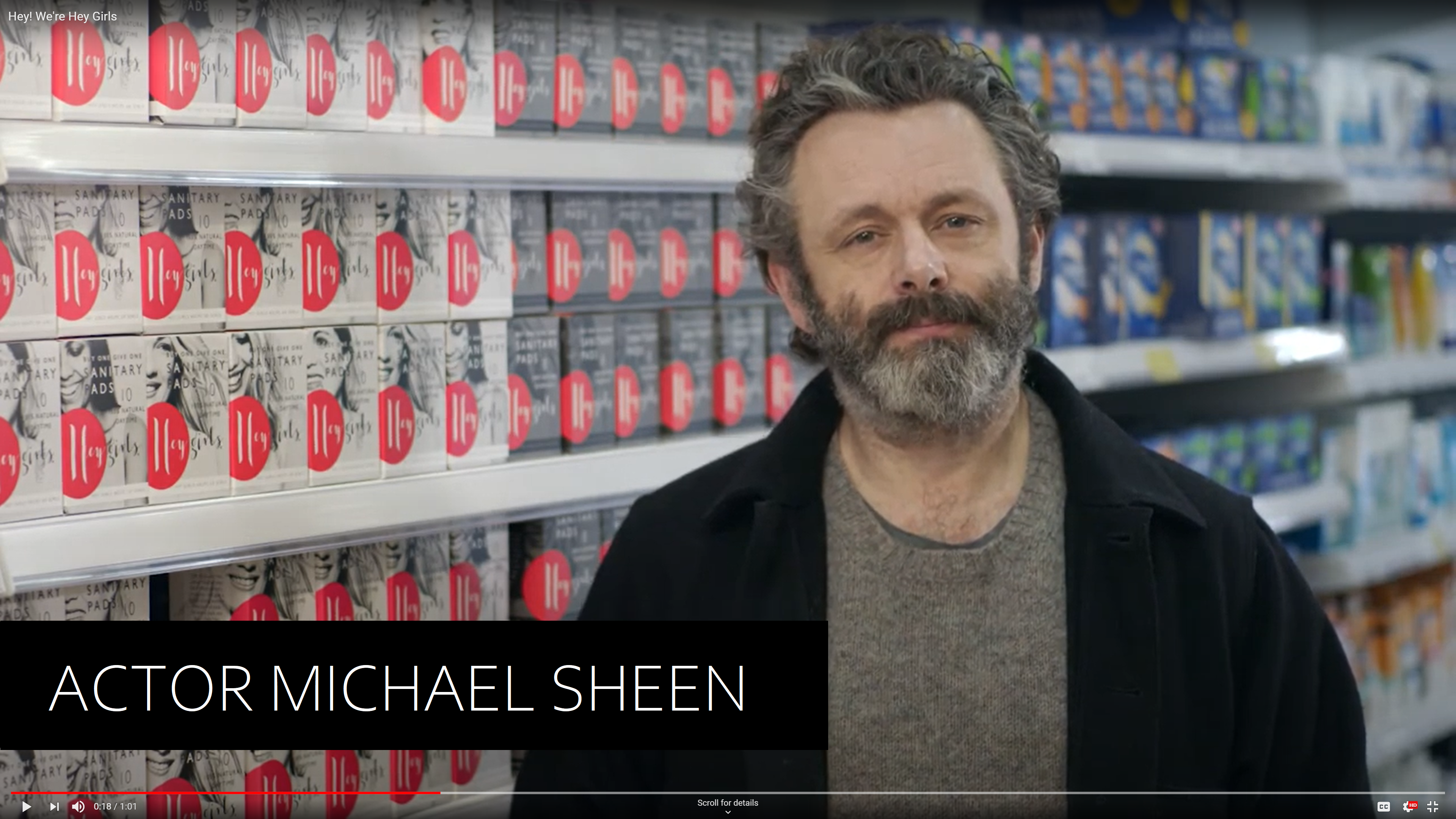 Michael Sheen commercial for Hey Girls period products