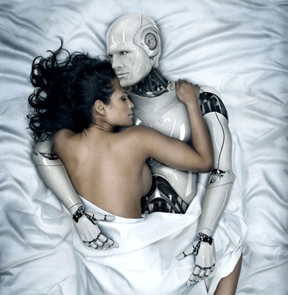 woman in bed with robot