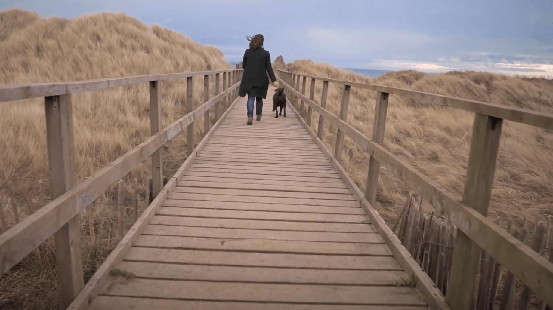 woman walking dog on pier
